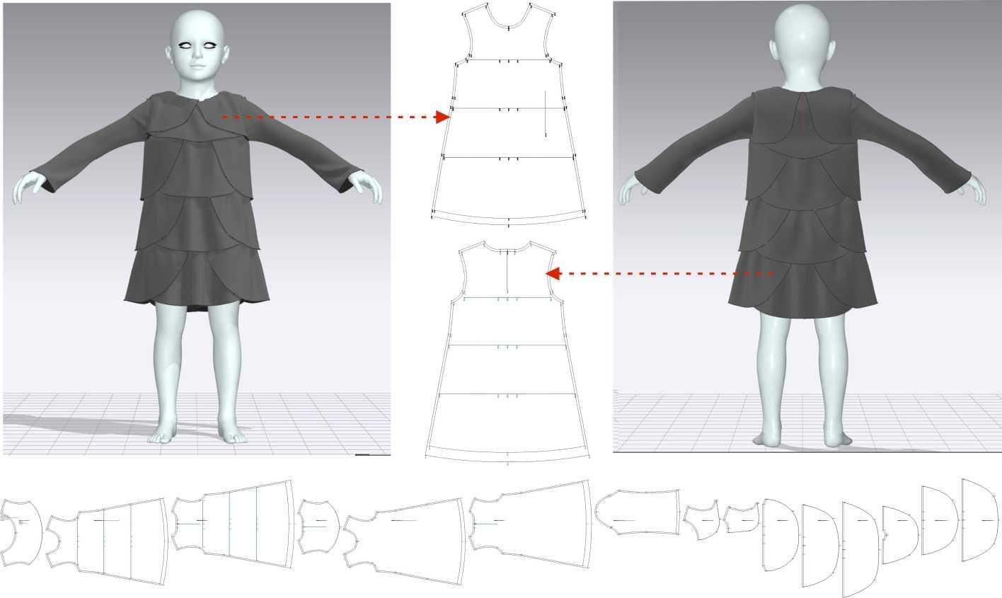 Modelo 3D en ordenador de la prenda
